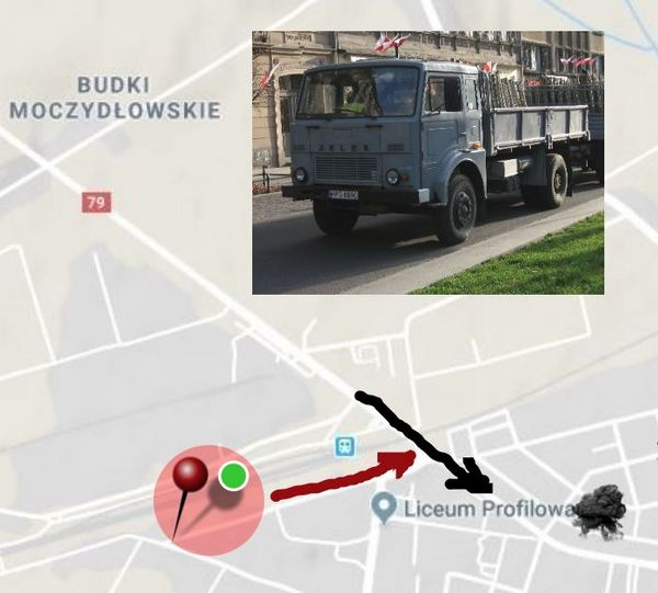 Góra Kalwaria Jelcz truck arrives