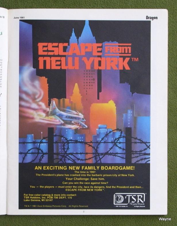 Dragon 50 - Escape From New York ad